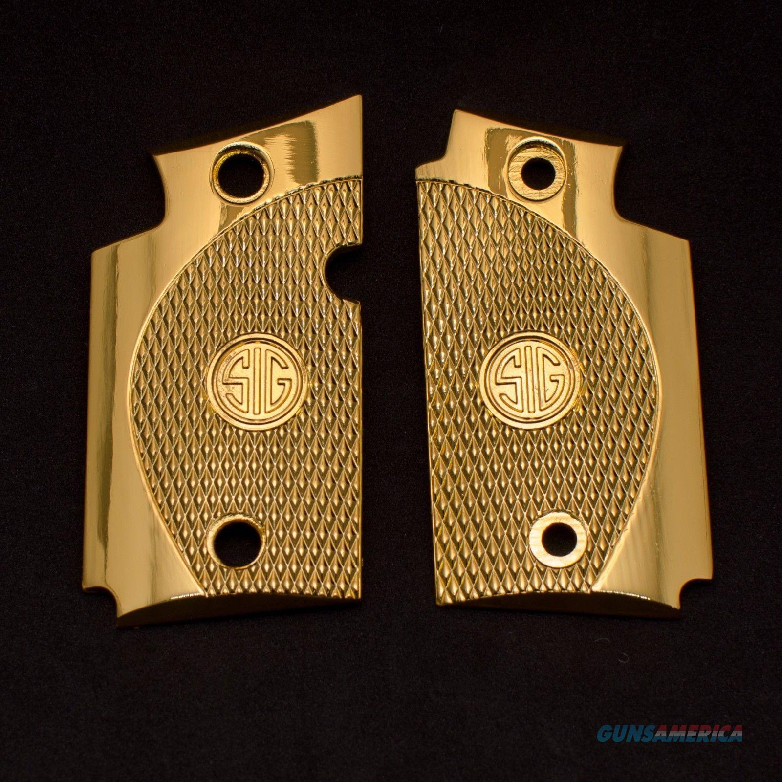 Exclusive LUXURY For Sig Sauer P938 Custom Metal Checkered Grips Gold Plated  Non-Guns > Gun Parts > Grips > Other