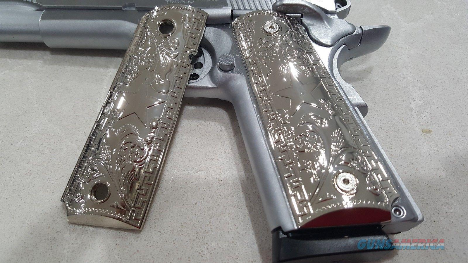 Luxury FIT ALL 1911 Grips COLT GRIPS Full Size Nickel Plated W Matching Screws  Non-Guns > Gun Parts > 1911