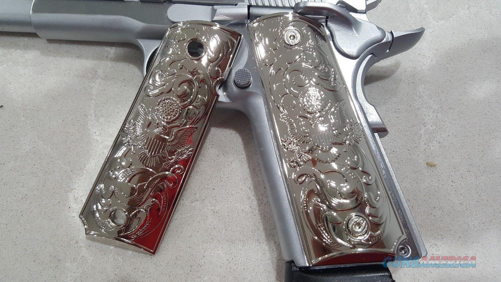 Luxury FOR 1911 Grips COLT GRIPS Full Size Nickel Plated W Matching Screws  Non-Guns > Gun Parts > 1911