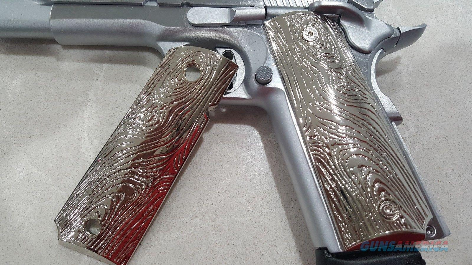 LUXURY 1911 GRIPS FULL SIZE GOVERNMENT METAL Grips Scroll GRIPS Nickel  Non-Guns > Gun Parts > 1911