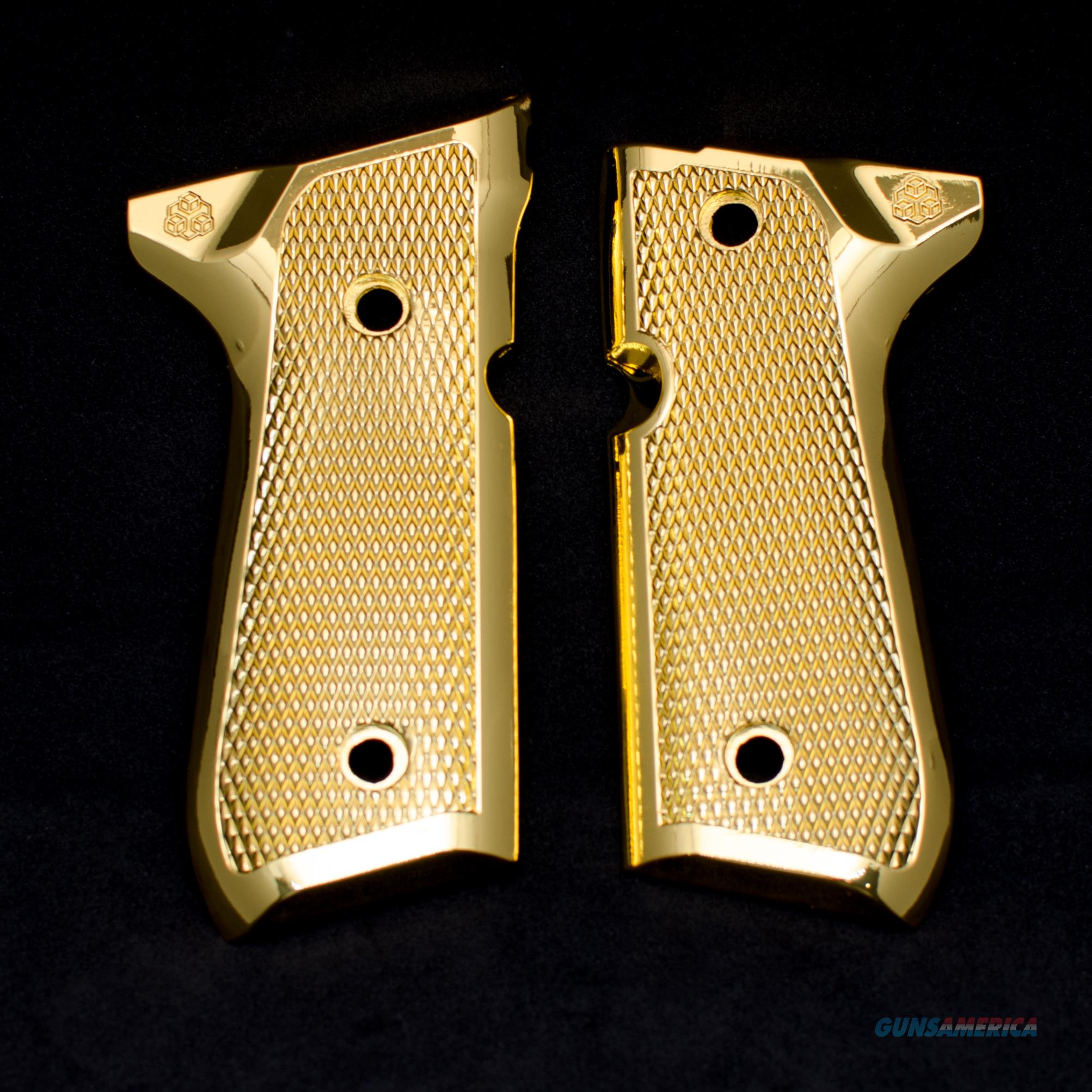Beretta Metal Grips Fits 92F 92FS 92SB 96 M9 Gold Plated  Non-Guns > Gun Parts > Grips > Other