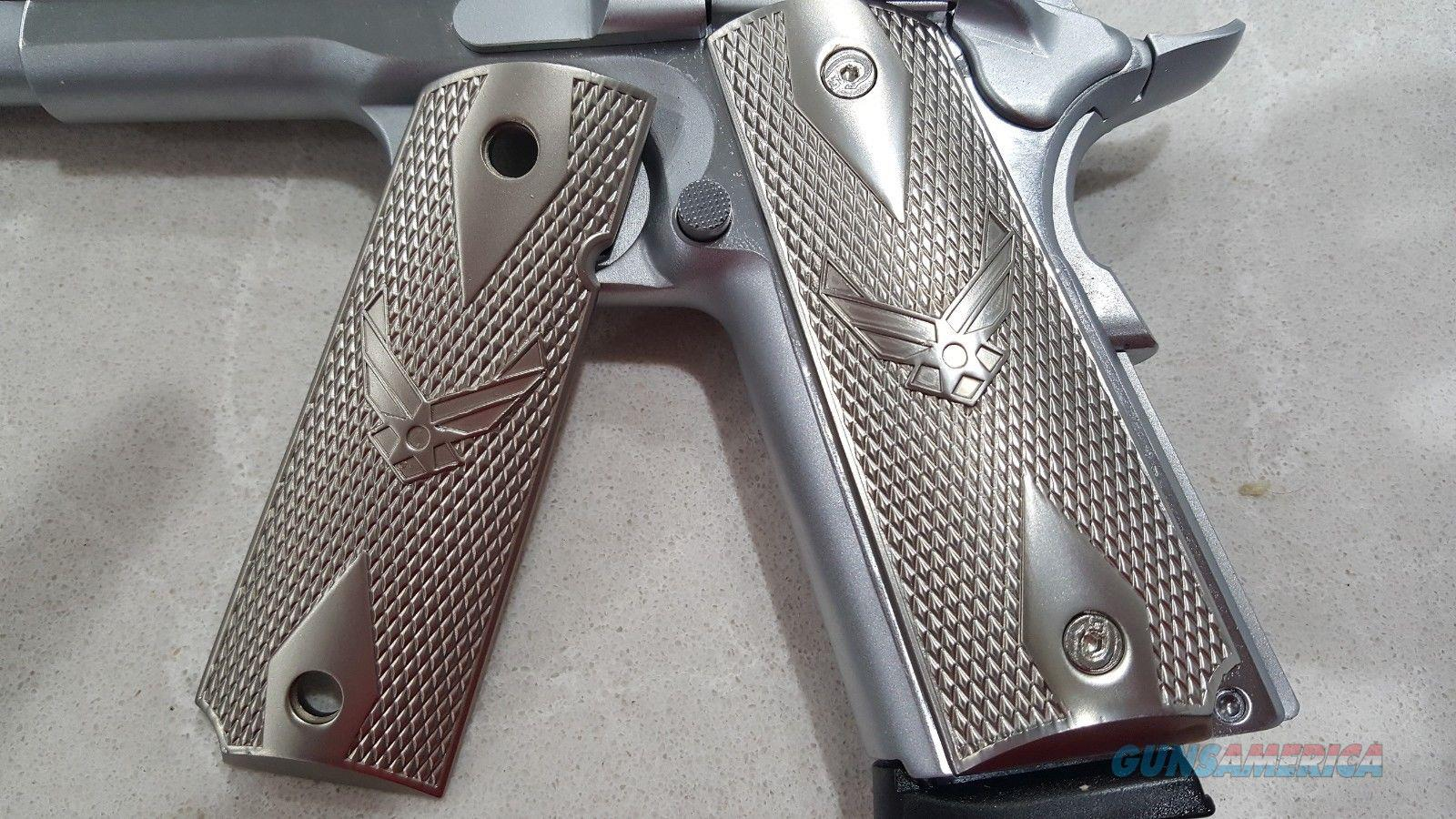 FIT ALL 1911 COLT US Air Force GRIPS Full Size Brushed Nickel Plated Screws included  Non-Guns > Gun Parts > 1911