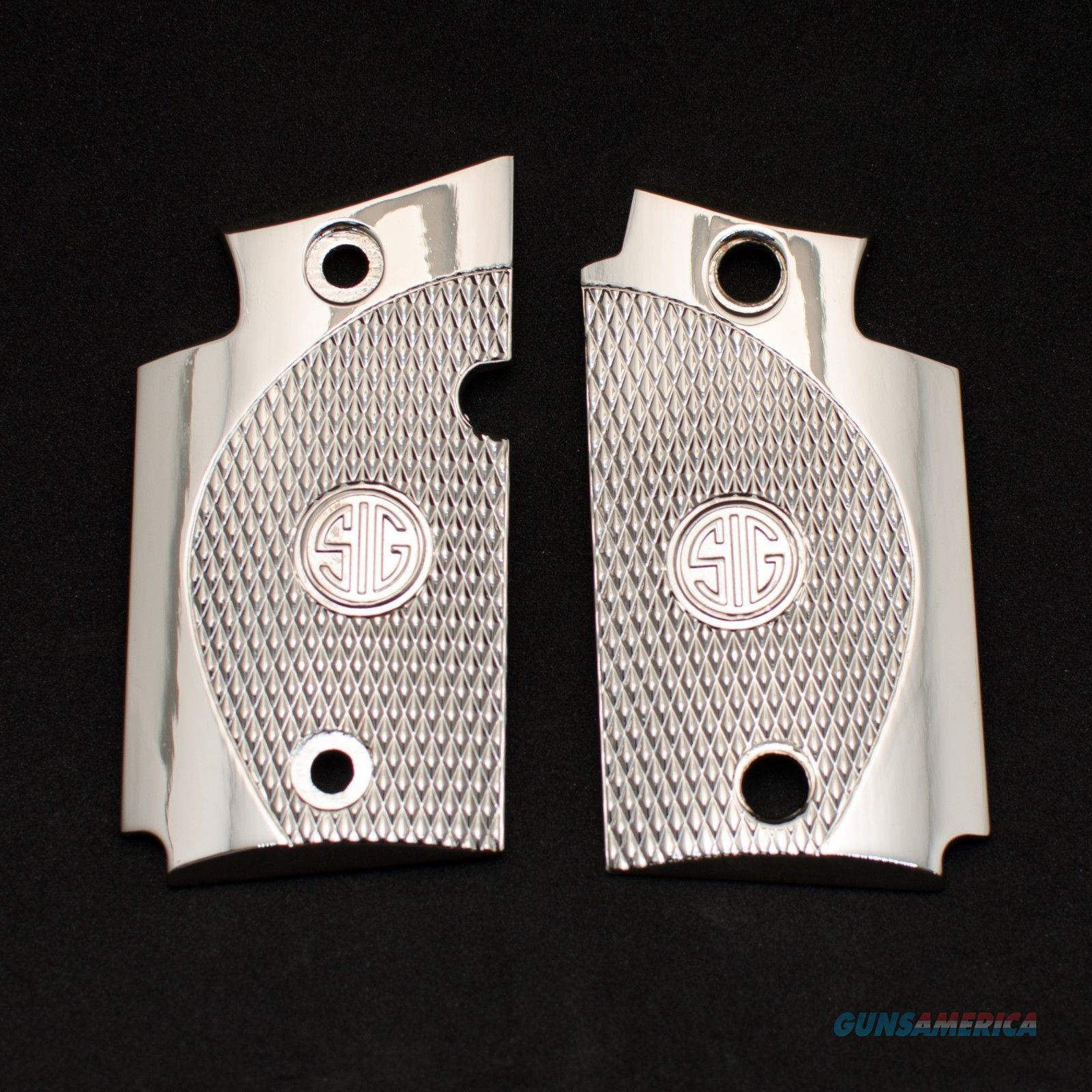 Exclusive LUXURY For Sig Sauer P938 Custom Metal Checkered Grips Shiny Nickel  Non-Guns > Gun Parts > Grips > Other