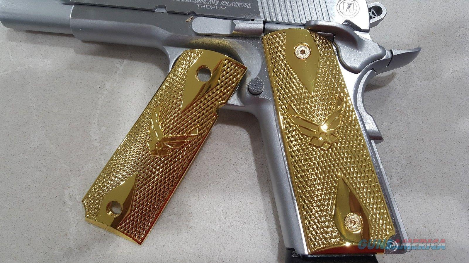 FIT ALL 1911 COLT US Air Force GRIPS FULL SIZE GOVERNMENT METAL CHECKERED GOLD PLATED  Non-Guns > Gun Parts > 1911