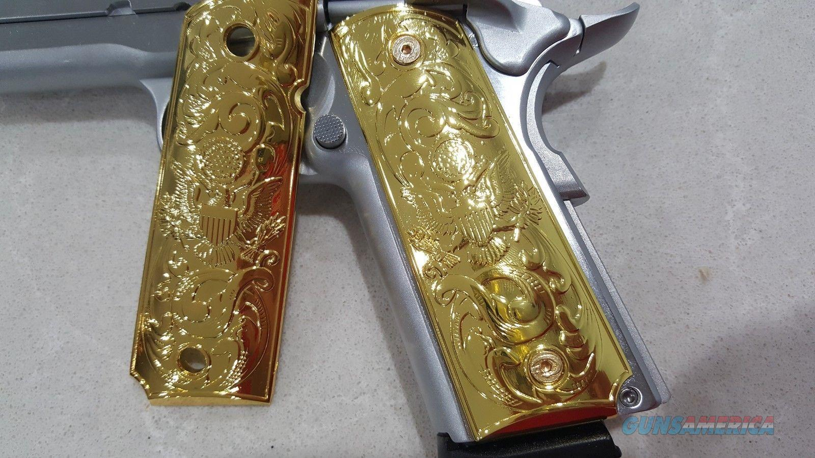 1911 Grips Custom METAL GRIPS Colt Full Size Government US Army Gold Plated  Non-Guns > Gun Parts > 1911