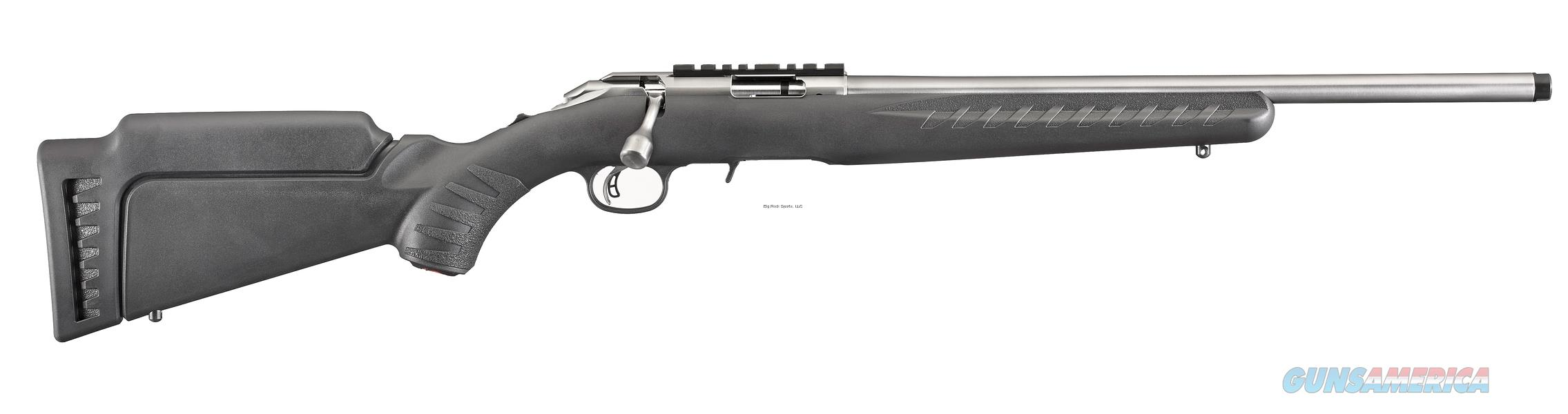 "Ruger 8351 American Rimfire Bolt Action Rifle, 22 LR, 18"" Bbl, 10-Rnd, Satin Stainless, Black Synthetic Stock, Threaded Muzzle LAYAWAY 60 DAYS SAME AS CASH!  Guns > Rifles > Ruger Rifles > American Rifle"