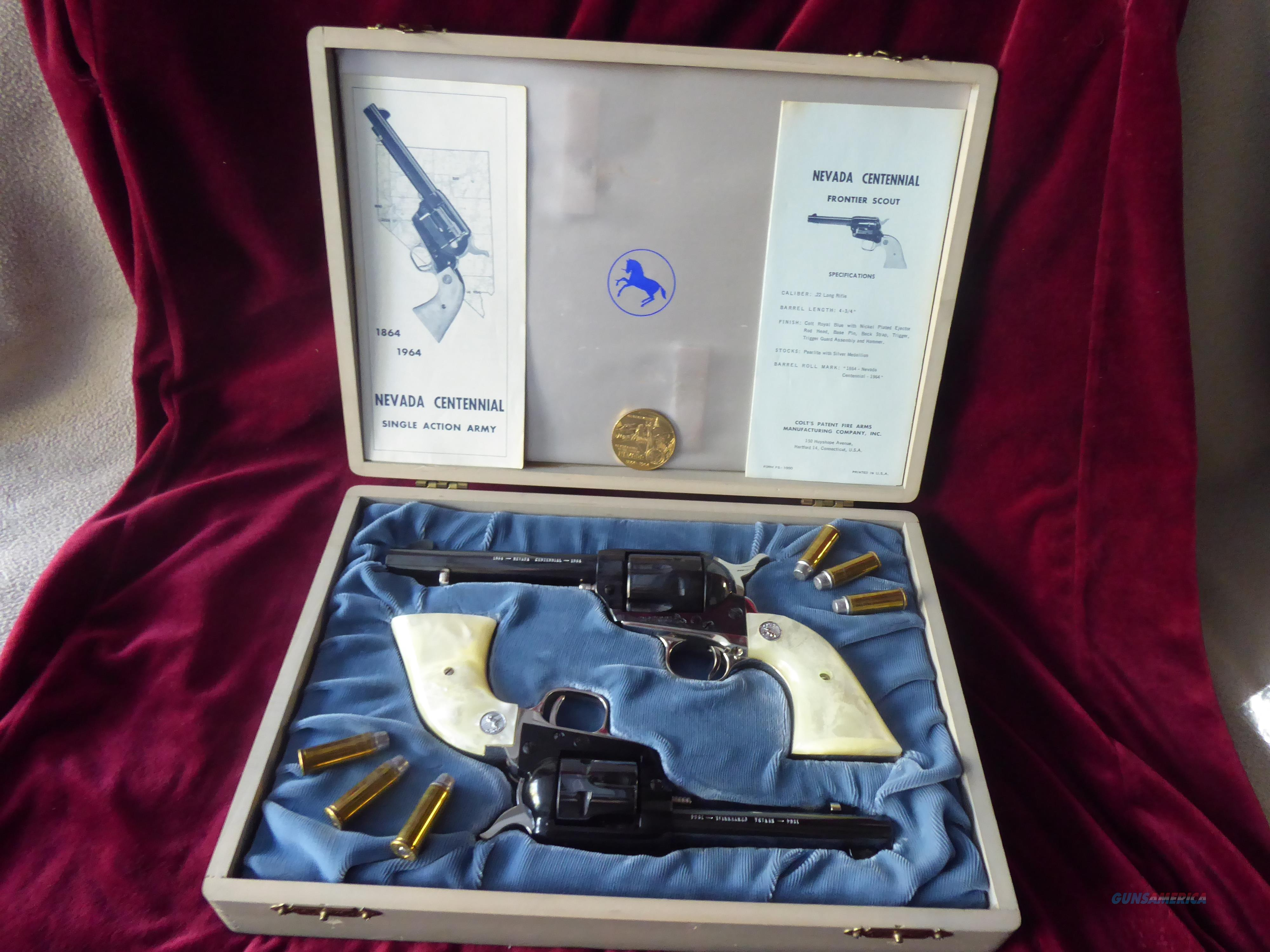 Colt 45 and 22 long Nevada Commemorative   Guns > Pistols > Colt Single Action Revolvers - 2nd Gen.