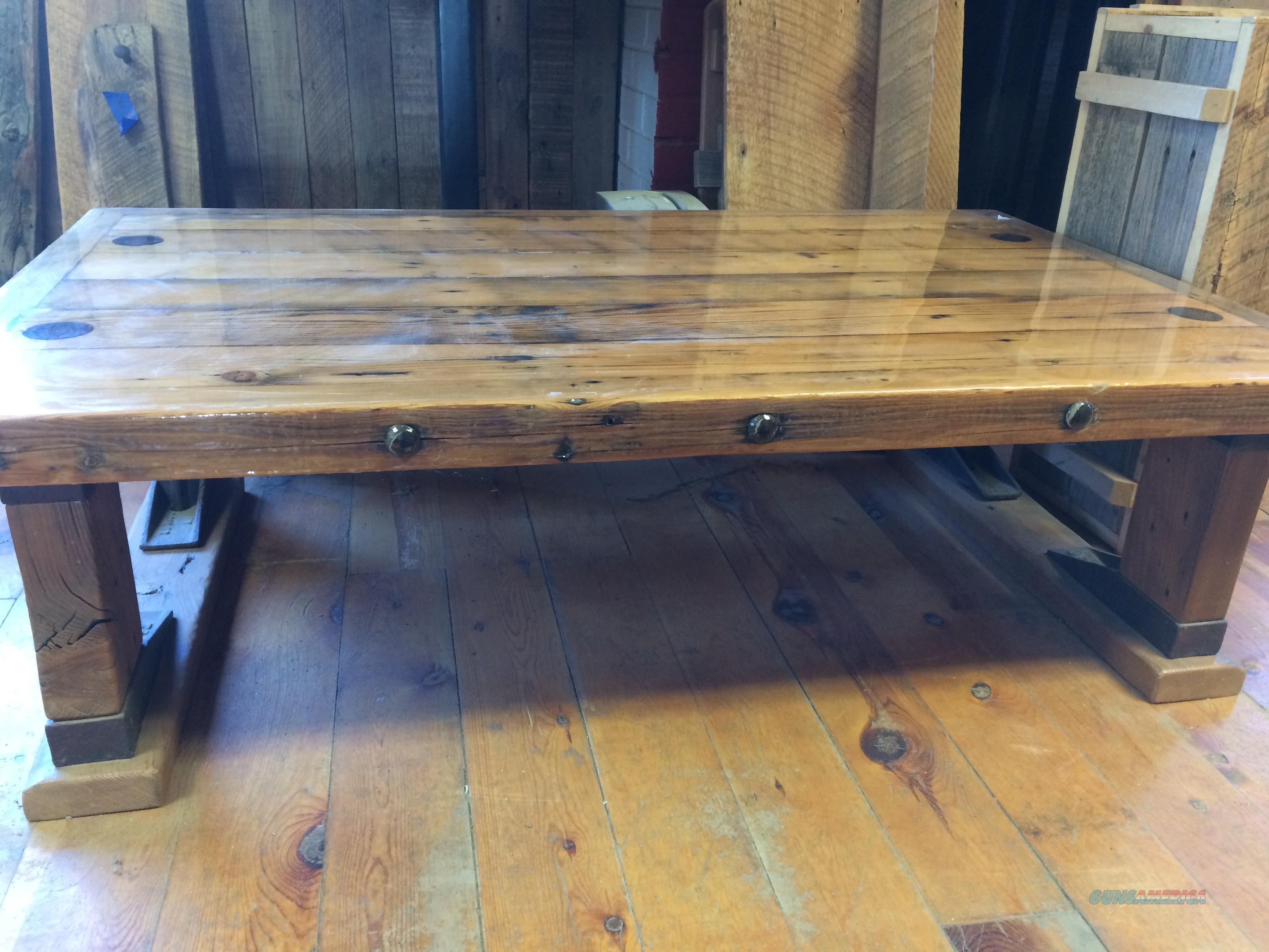 Rustic Coffee Table Made From Reclaimed Railcar Oak  Non-Guns > Artwork