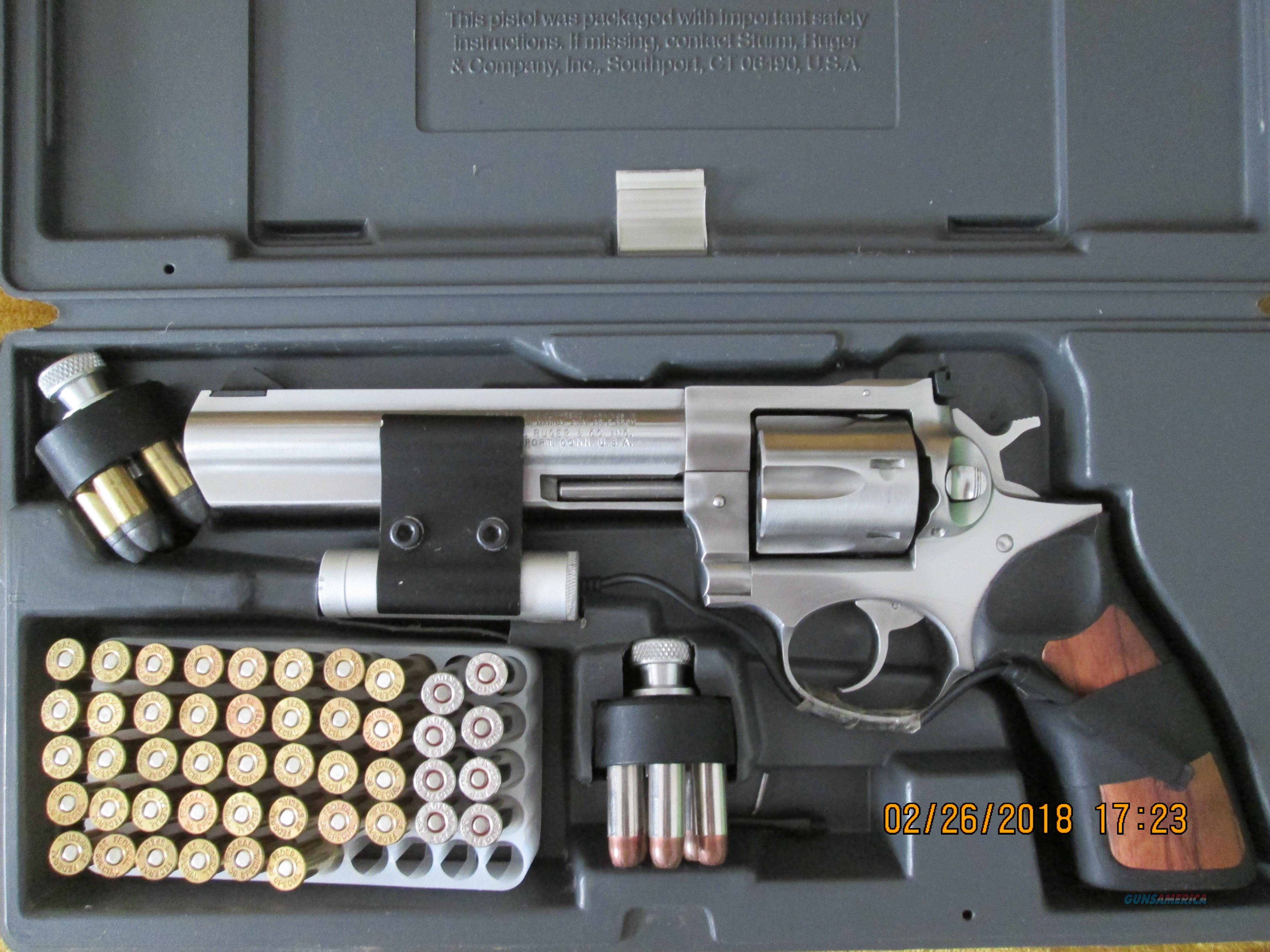 "Ruger GP100 .357 Magnum Model 1707, 6"" Bbl. Stainless Steel. Comes in original Case with Laser Sight mounted, 2-Speed Loads, .357 Magnum and .38 Special ammo.  Guns > Pistols > Ruger Double Action Revolver > GP100"