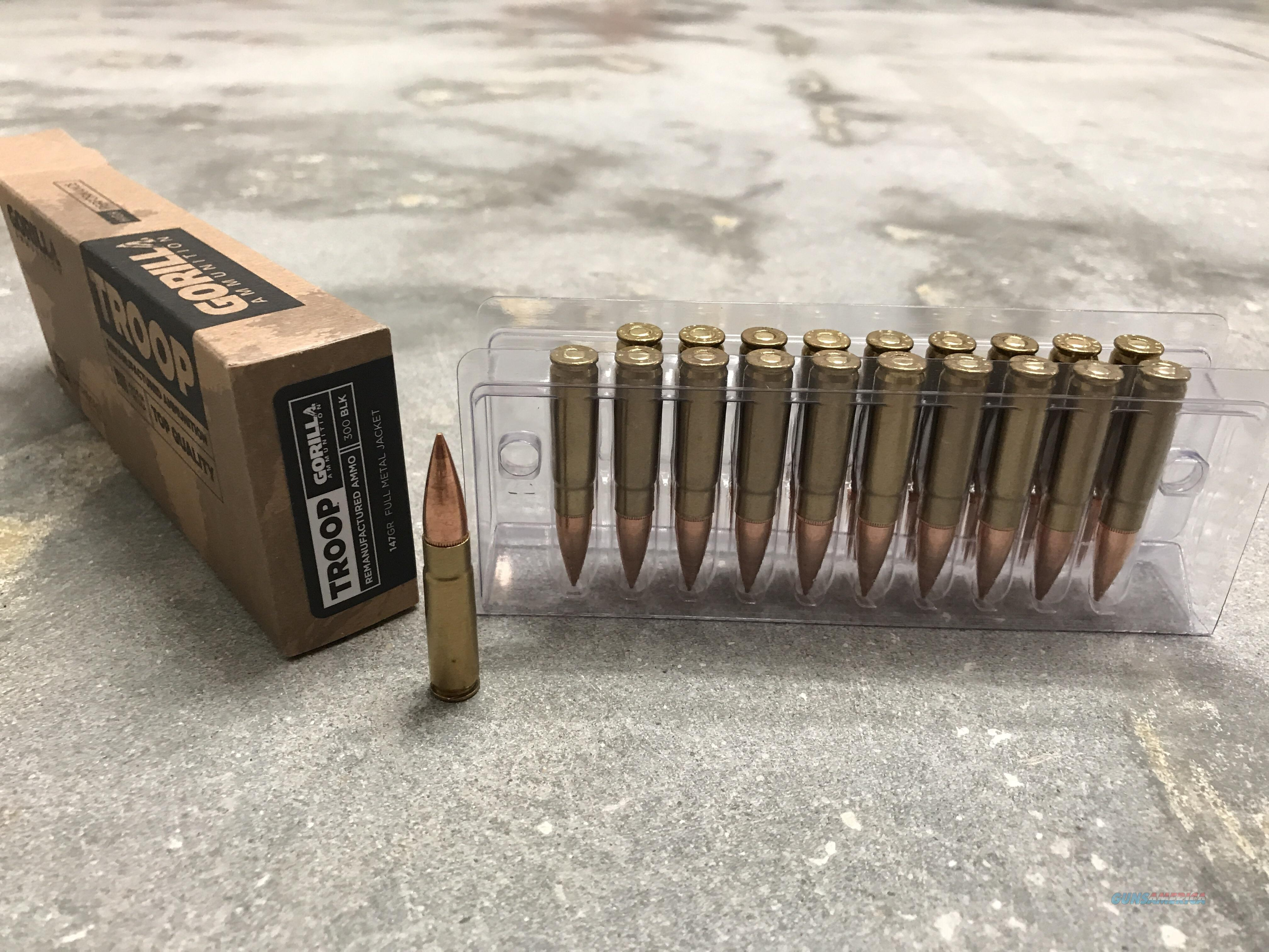 Gorilla Ammunition Troop 300 Blackout 147gr FMJ, 20 round box  Non-Guns > Ammunition