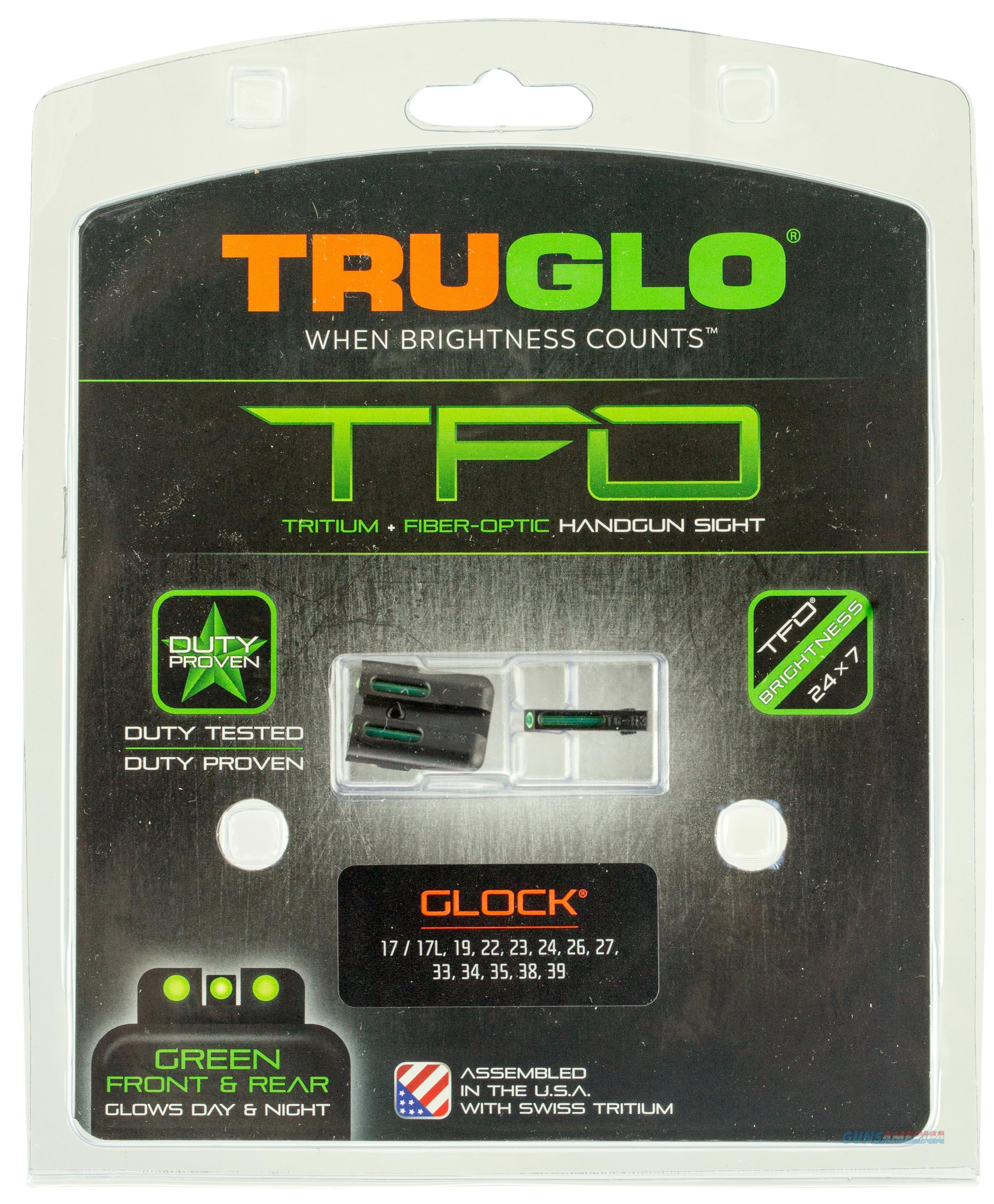 Truglo Tg131gt1 Brite-Site Tfo Glock 17/19/22/23/24/26/27/33/34/35/38/39 Tritium/Fiber Optic Green Black TG131GT1  Non-Guns > Iron/Metal/Peep Sights