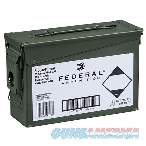 Federal Xm193lcac1 M193 5.56Nato 55Gr Fmj Can 20Boxes/21 420Rd/Can XM193LC1 AC1  Non-Guns > Ammunition