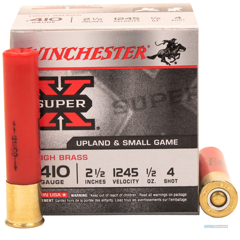 Winchester Super-X High Brass 410 2.5'' 1/2Oz #4 25/Bx X414  Non-Guns > Ammunition