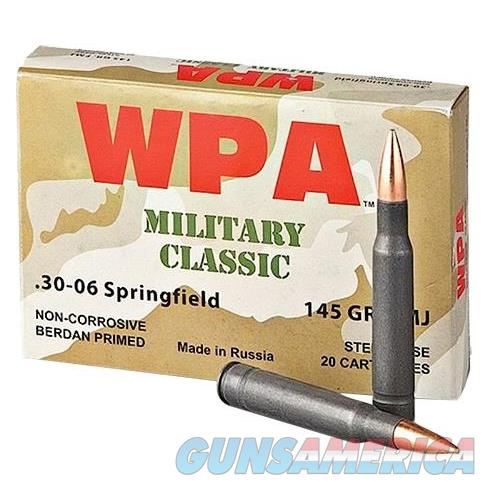 Wolf Mc3006fmj145 Military Classic Rifle 30-06 Springfield 145 Gr Full Metal Jacket 20 Bx/ 25 Cs 500 Total (Case) MC3006FMJ145  Non-Guns > Ammunition