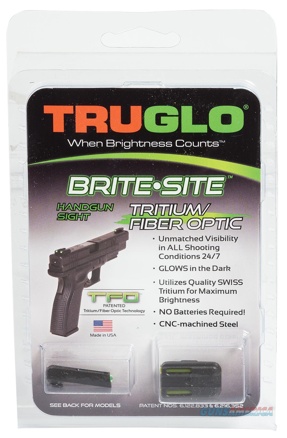 Truglo Tg131gt1b Brite-Site Tfo Glock 42/43 Tritium/Fiber Optic Green Front Yellow Rear Black TG131GT1B  Non-Guns > Iron/Metal/Peep Sights