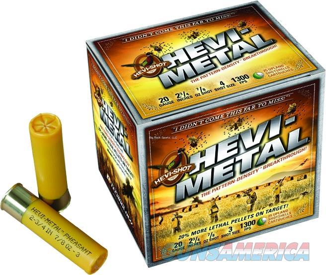 "Hevishot 32034 Hevi-Metal Pheasant 20 Gauge 2.75"" 7/8 Oz 4 Shot 25Bx/10Cs 32034  Non-Guns > Ammunition"