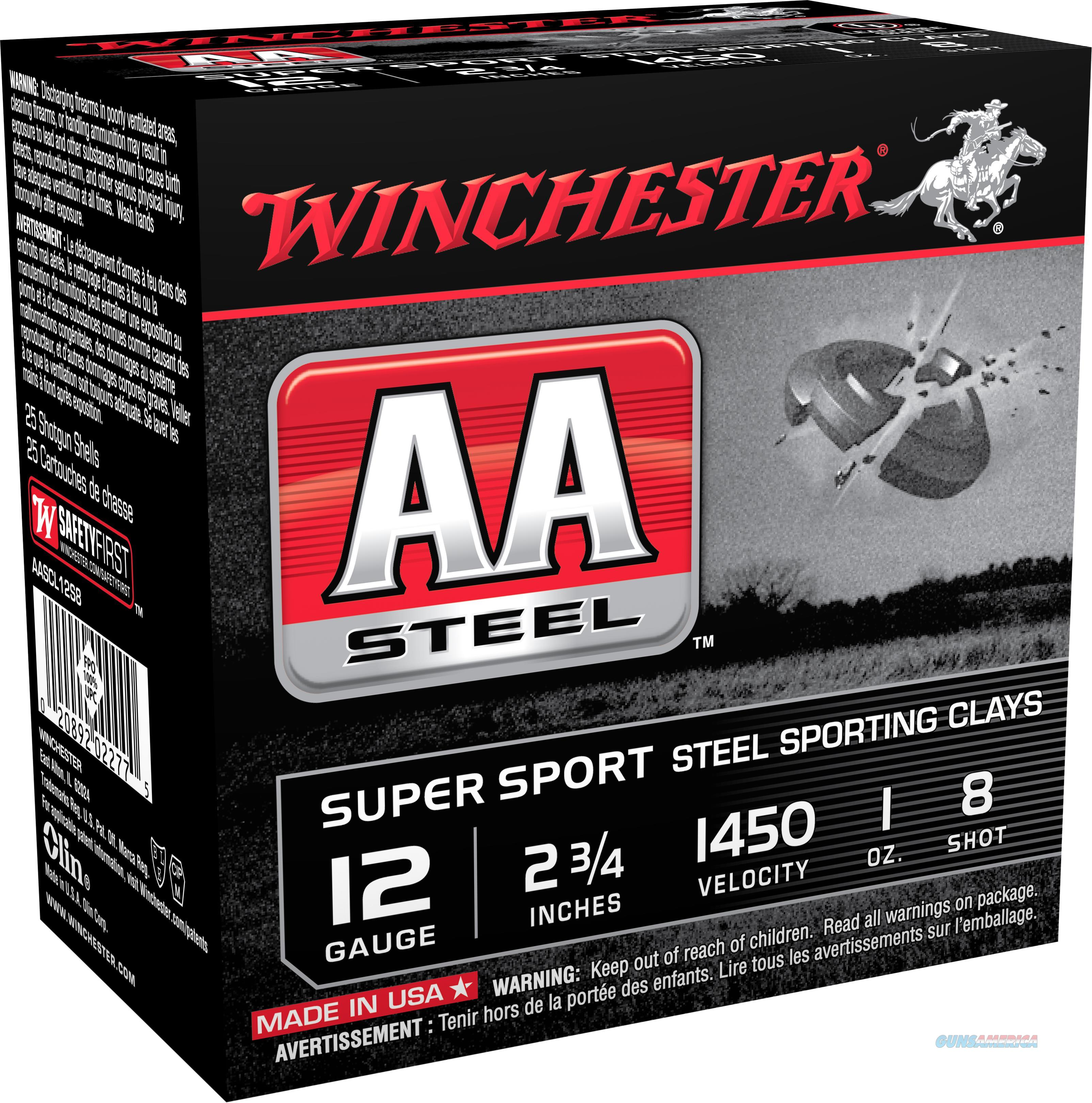 """Winchester Ammo Aascl12s8 Aa Steel 12 Gauge 2.75"""" 1 Oz 8 Shot 25 Bx/ 10 Cs AASCL12S8  Non-Guns > Ammunition"""