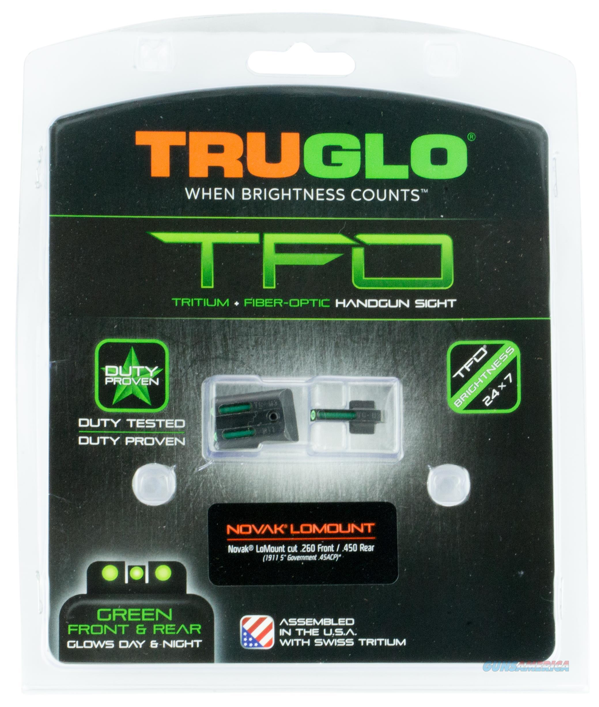 Truglo Tg131nti1 Tfo 1911 Govt 45 Acp W/Novak Lomount Fiber Optic Green TG131NT1  Non-Guns > Iron/Metal/Peep Sights