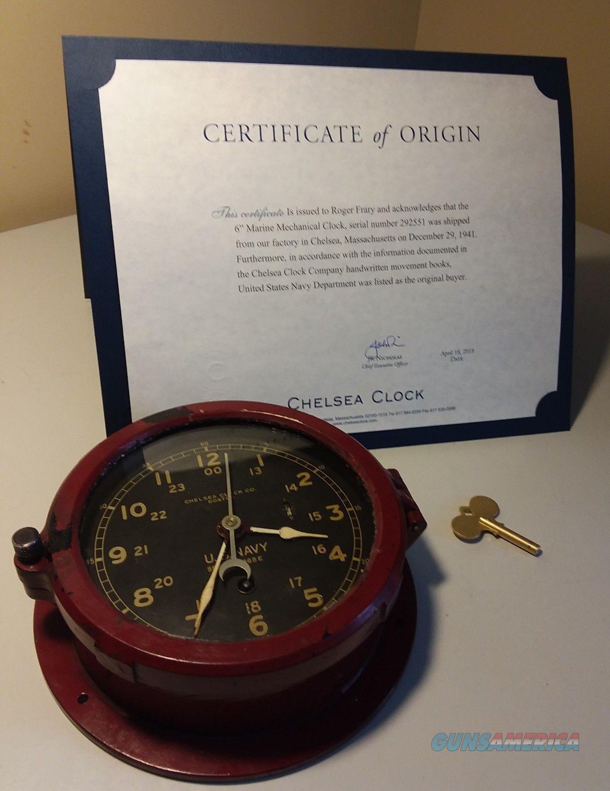 U.S. Navy Chelsea Clock Co Nautical Clock 1941  Non-Guns > Miscellaneous