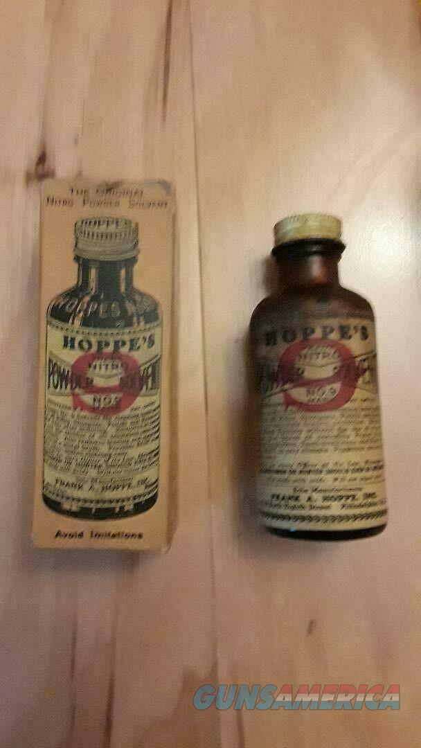 Hoppe's Nitro Powder Solvent No.9 Bottle and Box 1937 open but full bottle  Non-Guns > Miscellaneous