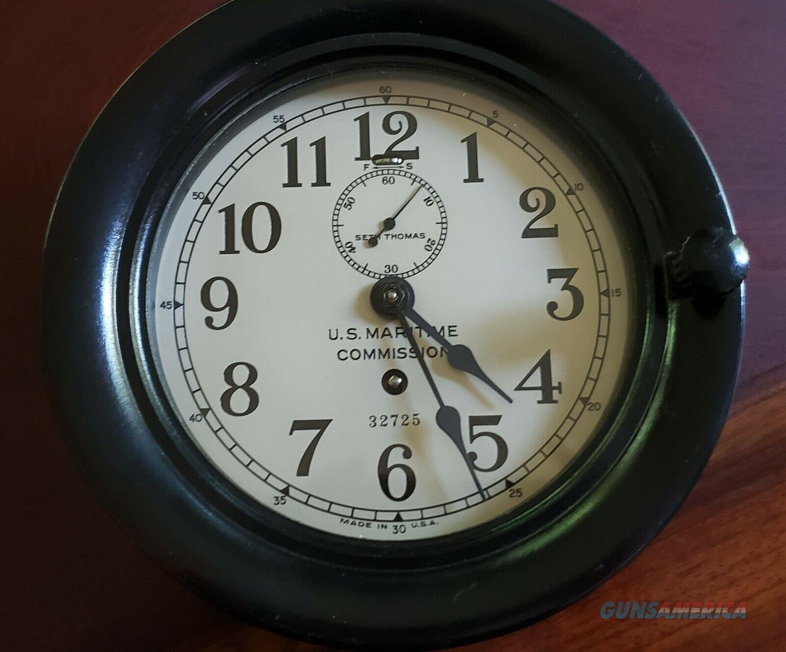 Seth Thomas WWII U.S. Maritime Commission Clock  Non-Guns > Military > Memorabilia