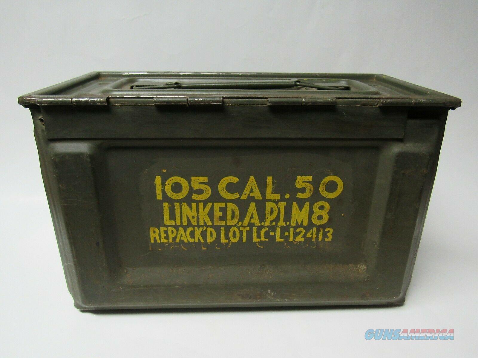 WW2 US AMMUNITION AMMO BOX CAN 50 CAL FLAMING BOMB  Non-Guns > Gun Cases