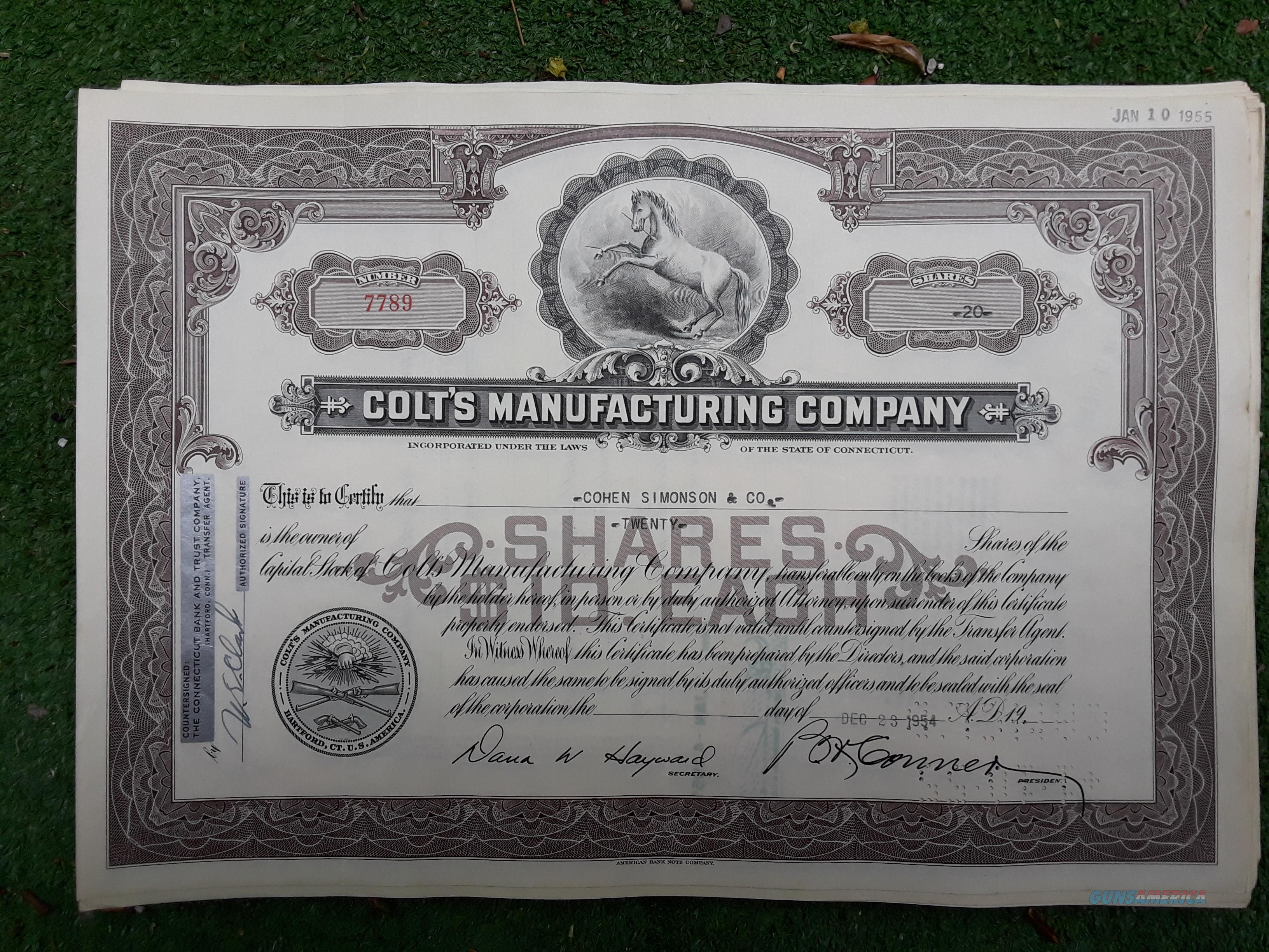 Colt Firearms Stock Certificate  Non-Guns > Manuals - Print
