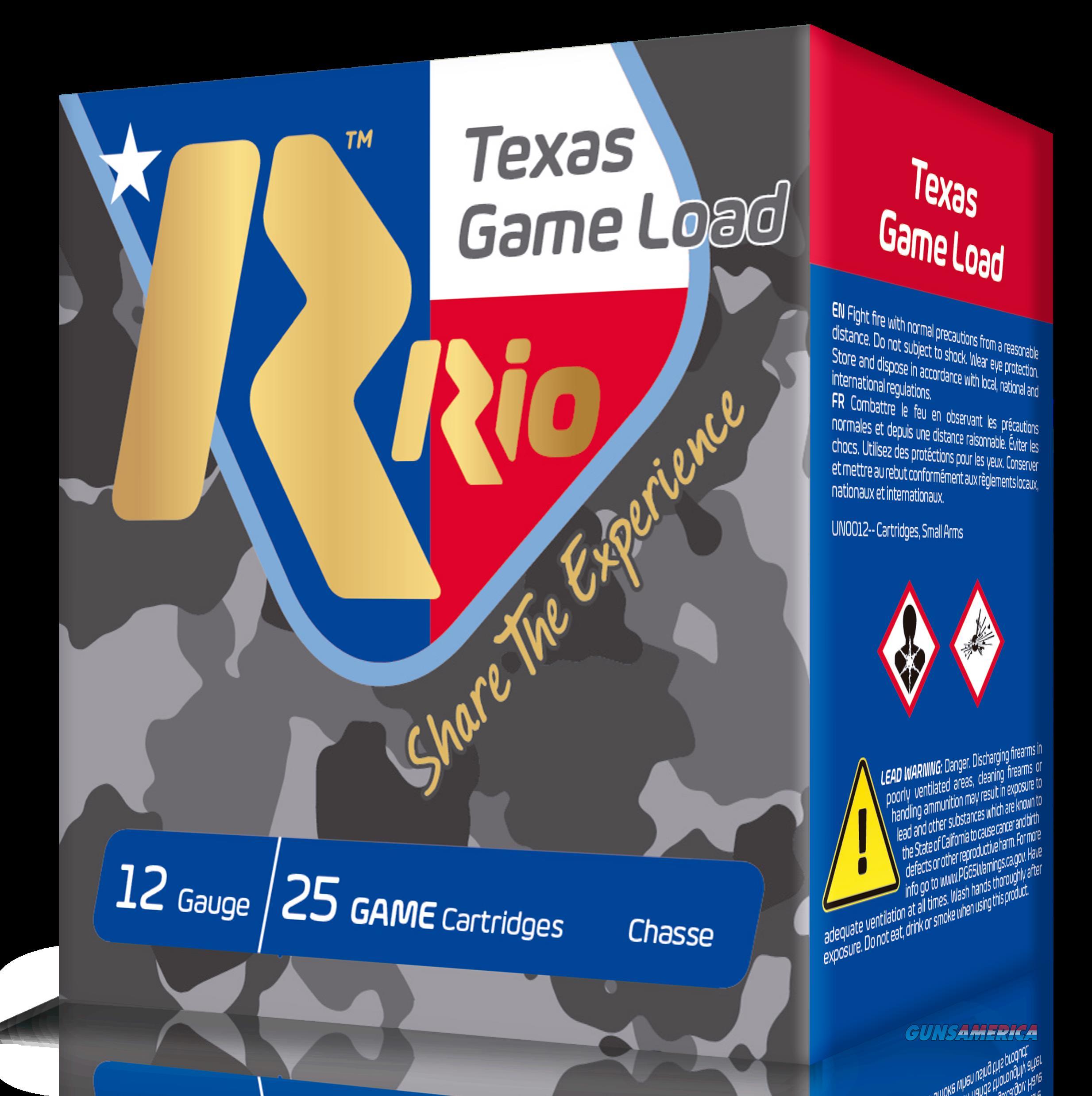 Rio Ammunition Top Game, Rio Tghv368tx  12 2.75     11-4oz Txgame Hv  25-10  Guns > Pistols > 1911 Pistol Copies (non-Colt)