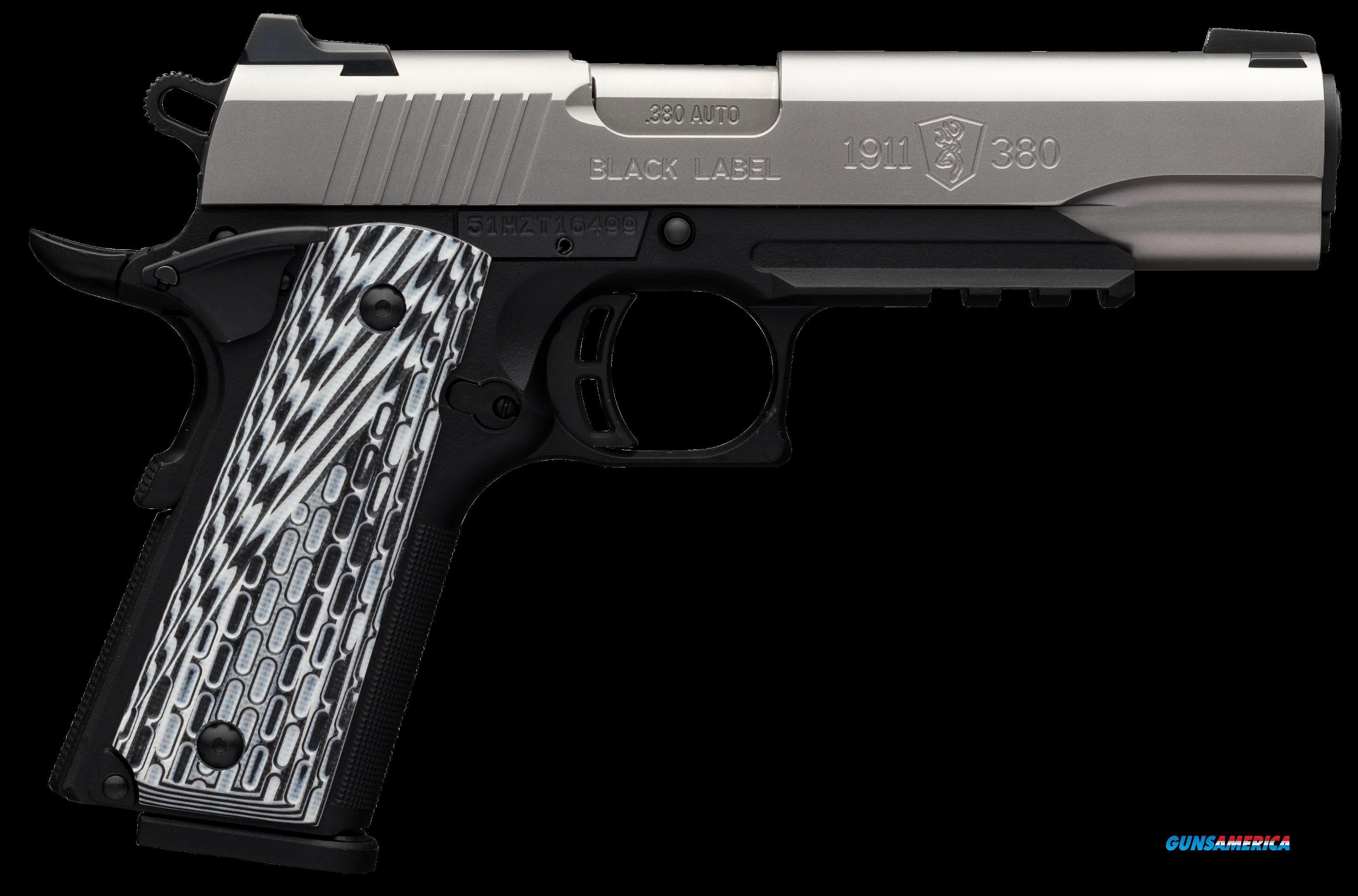 Browning 1911-380, Brn 051-927492 1911 380 Blklbl Pro 4.25 Ns Rail Ss  Guns > Pistols > 1911 Pistol Copies (non-Colt)