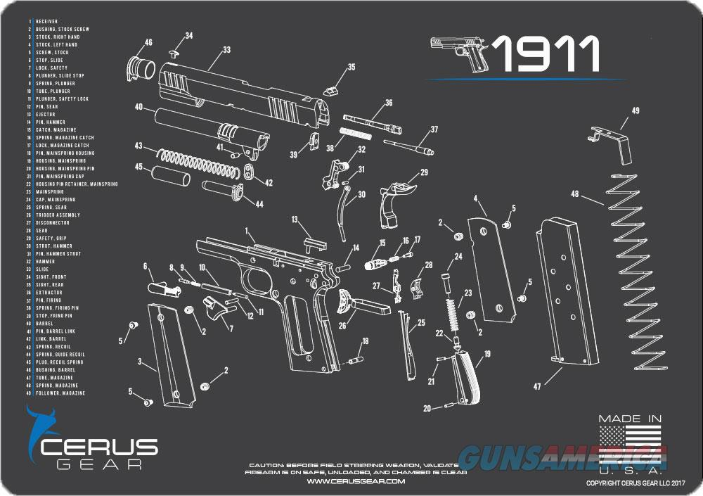 Cerus Gear 3mm Promats 12x17 - 1911 Schematic Char Gray!  Guns > Pistols > 1911 Pistol Copies (non-Colt)
