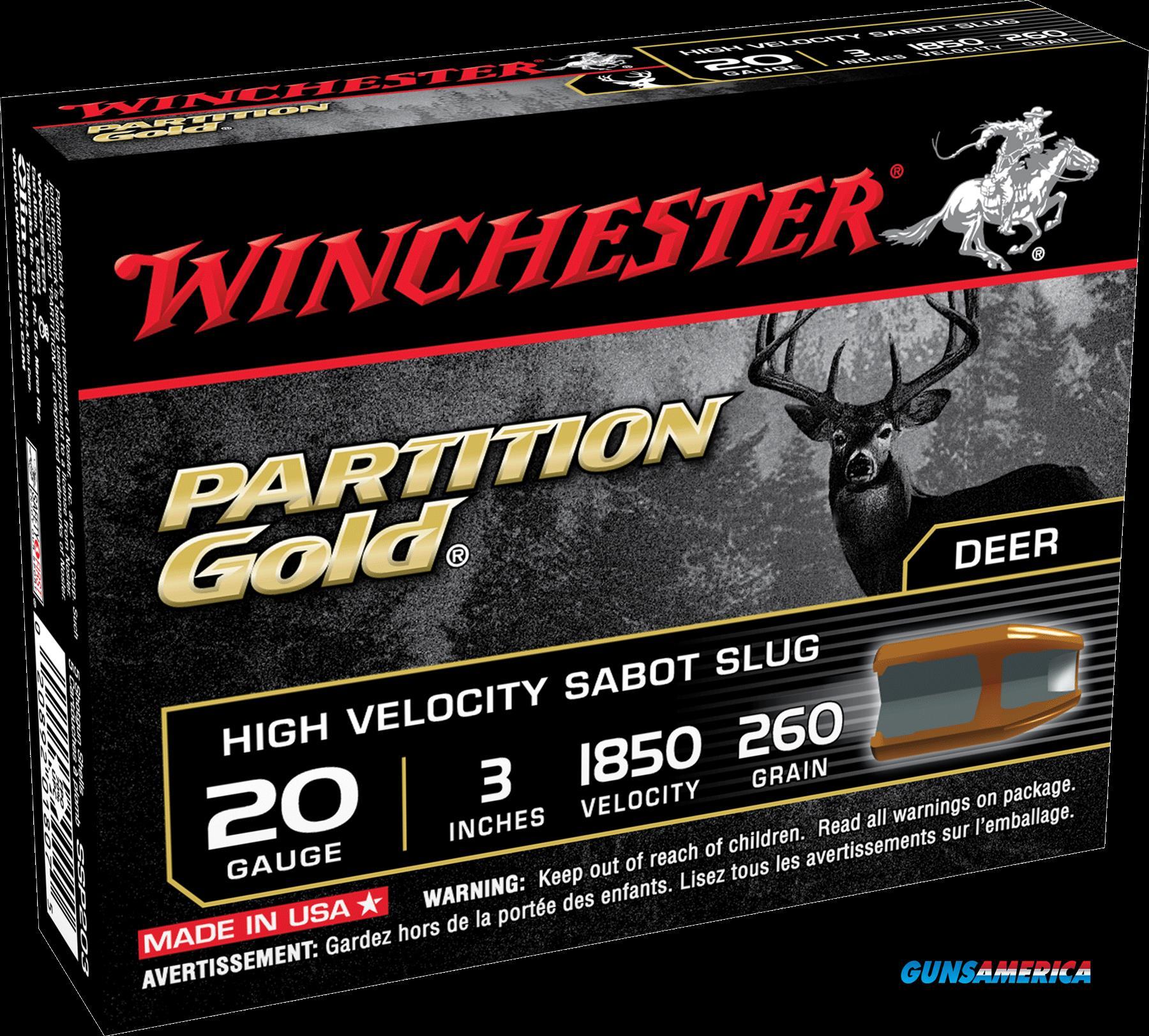 Winchester Ammo Partition Gold, Win Ssp203  Suppar Gld Sabot   Slug  5-20  Guns > Pistols > 1911 Pistol Copies (non-Colt)