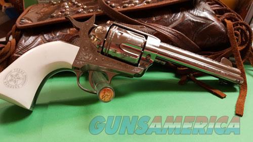 Cimarron Texas Rangers .45lc - Pw Fs 4.75 Engraved Nickel  Guns > Pistols > 1911 Pistol Copies (non-Colt)