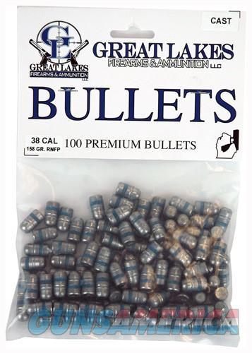 Great Lakes Bullets .38-.357 - .358 158gr. Lead-rnfp 100ct  Guns > Pistols > 1911 Pistol Copies (non-Colt)