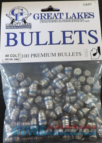Great Lakes Bullets .45lc - .452 255gr. Lead-swc 100ct  Guns > Pistols > 1911 Pistol Copies (non-Colt)