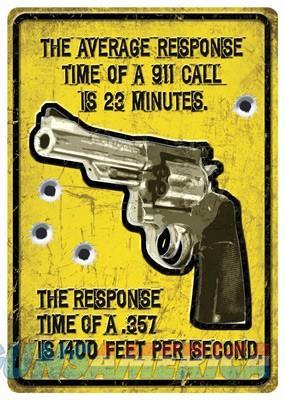 Rivers Edge Average Response - Time Tin Sign 12x17  Guns > Pistols > 1911 Pistol Copies (non-Colt)