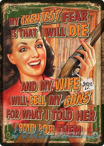 Rivers Edge Embossed Sign - 12x17 wife Sells Guns  Guns > Pistols > 1911 Pistol Copies (non-Colt)