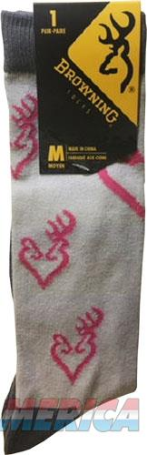 Bg Ladies Heartland Calf Socks - Med White-grey-pink Buckmark  Guns > Pistols > 1911 Pistol Copies (non-Colt)