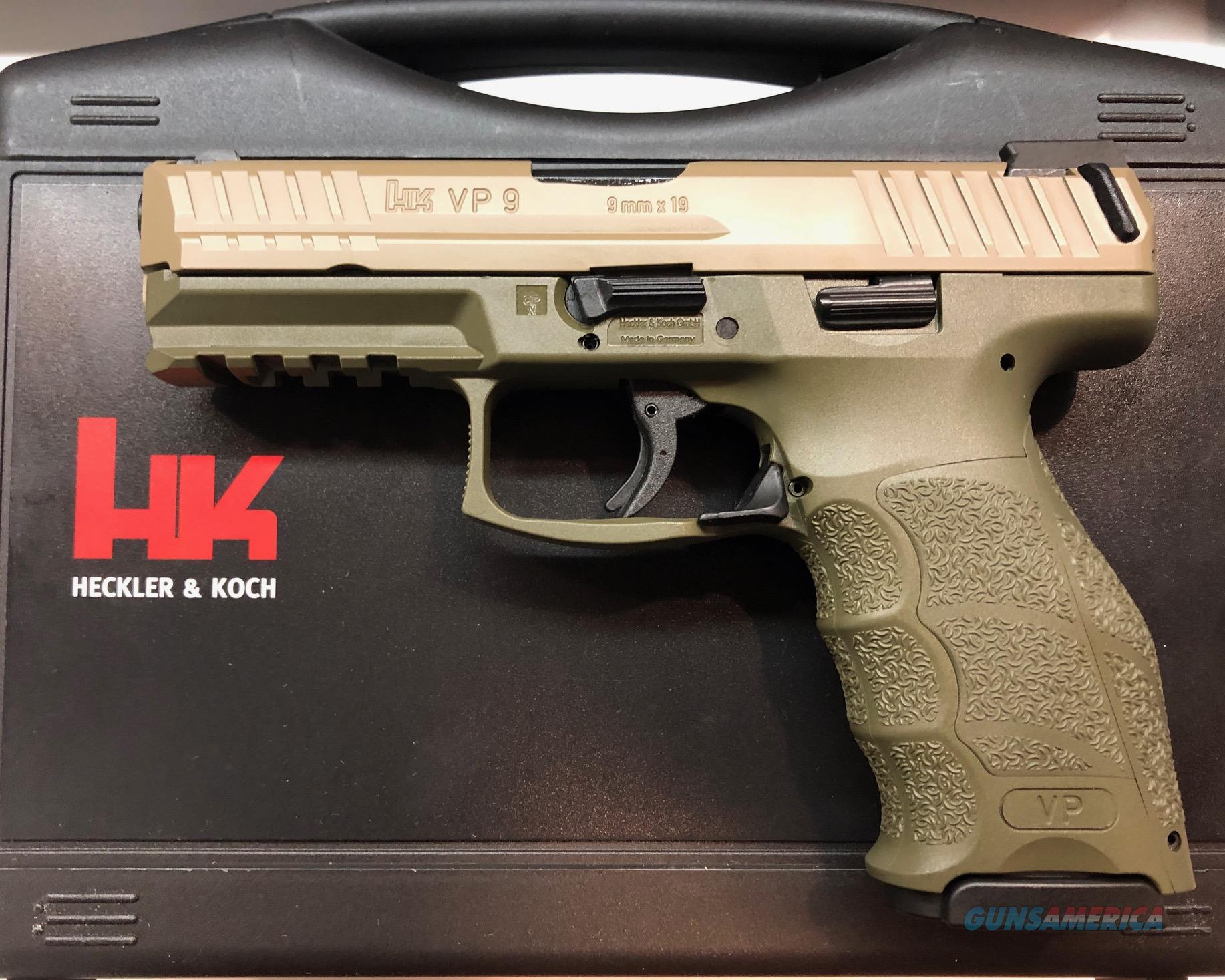 New Heckler & Koch HK VP9 9mm Night Sights 3-15 Round Mags OD Green / FDE   Guns > Pistols > Heckler & Koch Pistols > Polymer Frame