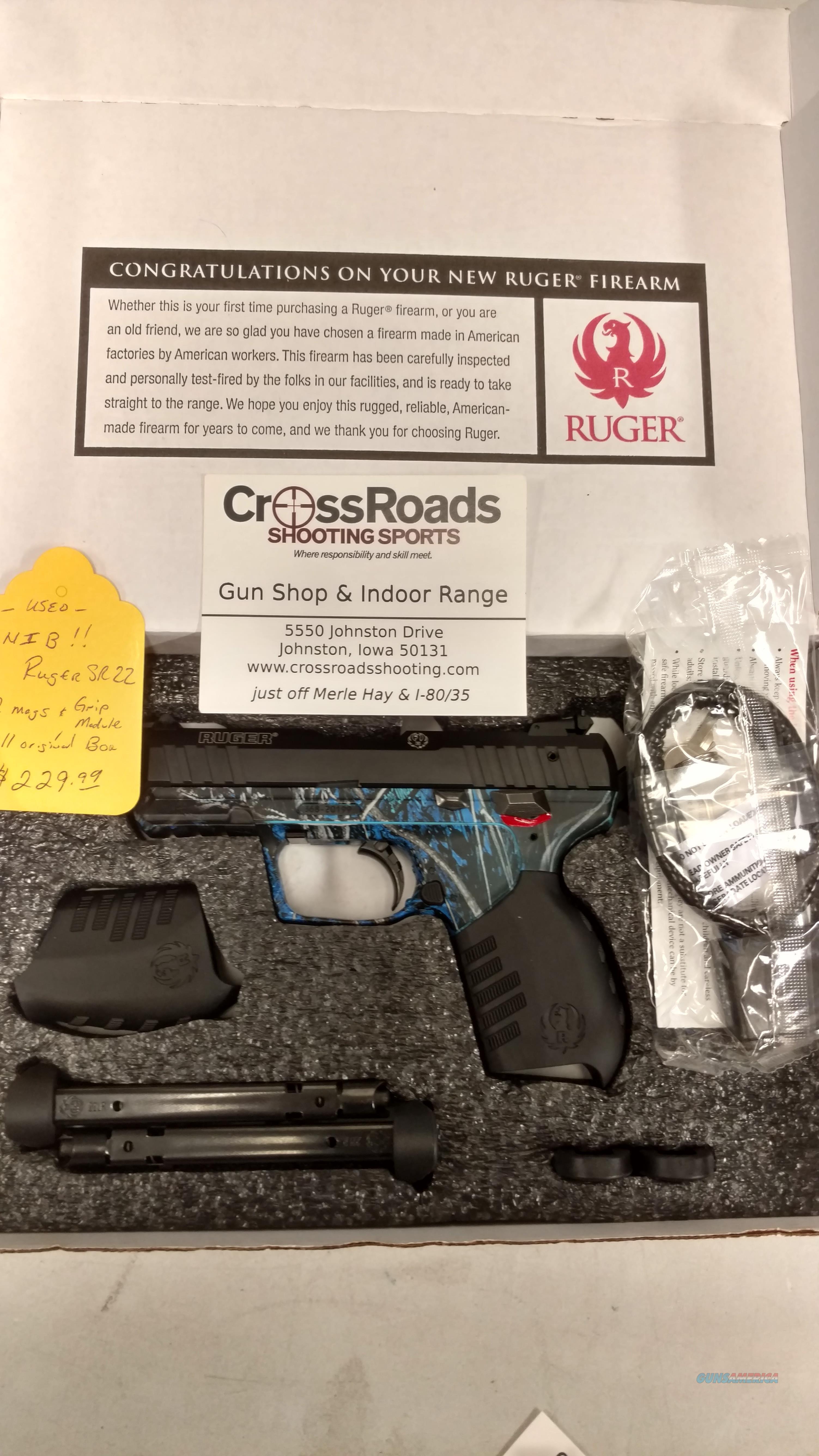 Used Ruger SR22 Blue Camo 22LR w/2 Mags!  Guns > Pistols > Ruger Semi-Auto Pistols > SR Family > SR22