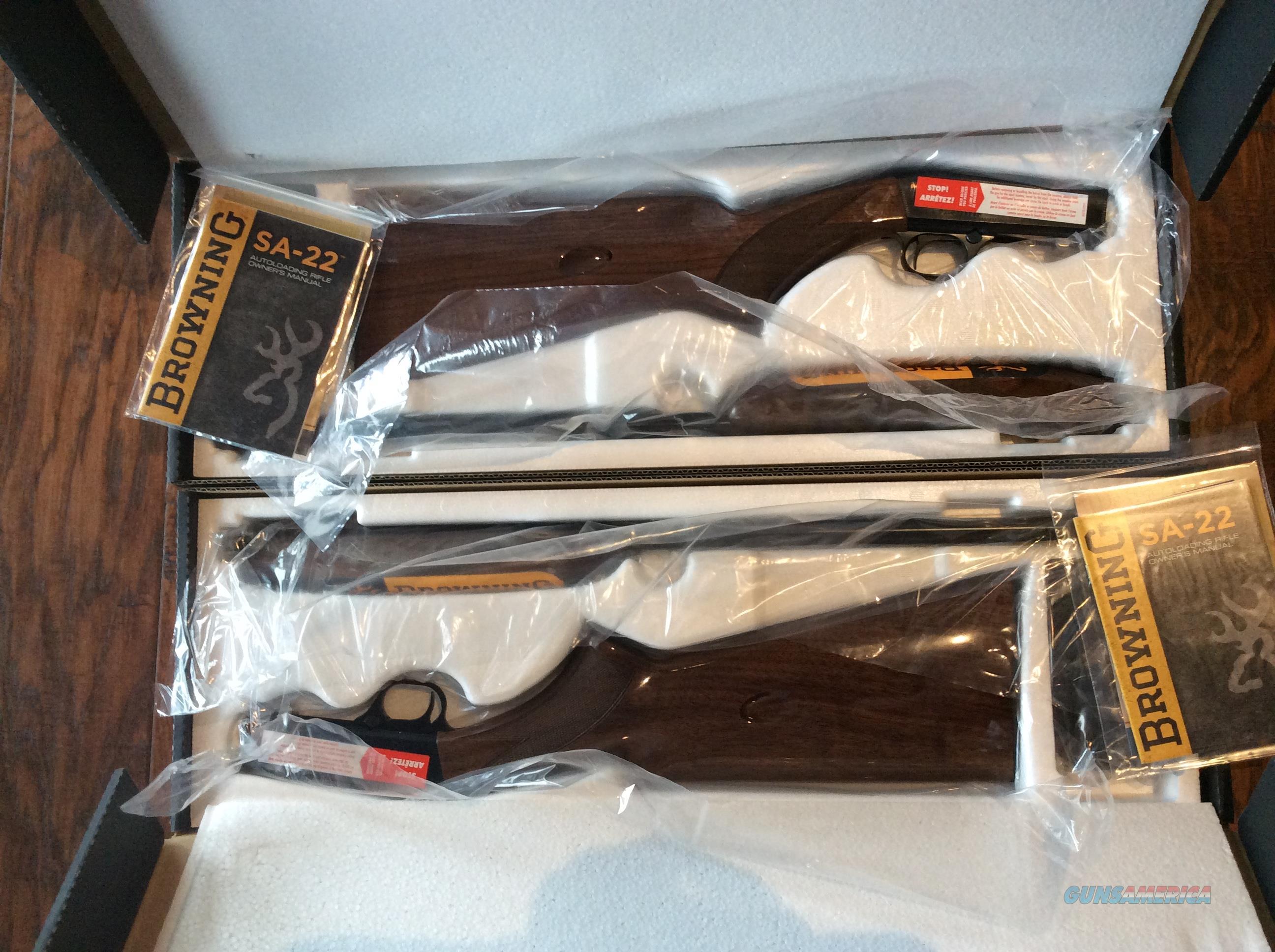 Pair of Browning sa-22 short only rifles with consecutive serial numbers  Guns > Rifles > Browning Rifles > Semi Auto > Hunting