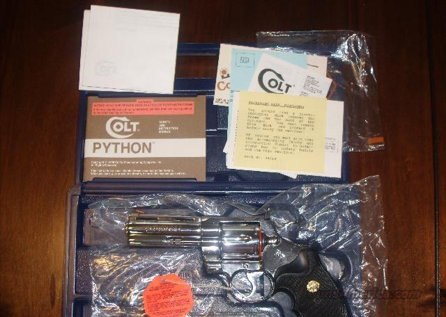 "COLT PYTHON, 4"" BRIGHT STAINLESS STEEL BSTS  Guns > Pistols > Colt Automatic Pistols (.25, .32, & .380 cal)"