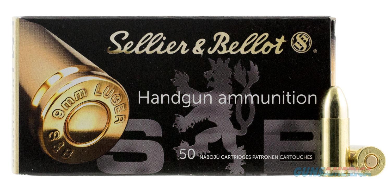 Sellier & Bellot 9mm Luger 115 gr Full Metal Jacket (FMJ) 50/Box. UPC: 754908500086 ** NO CC FEES **   Non-Guns > Ammunition