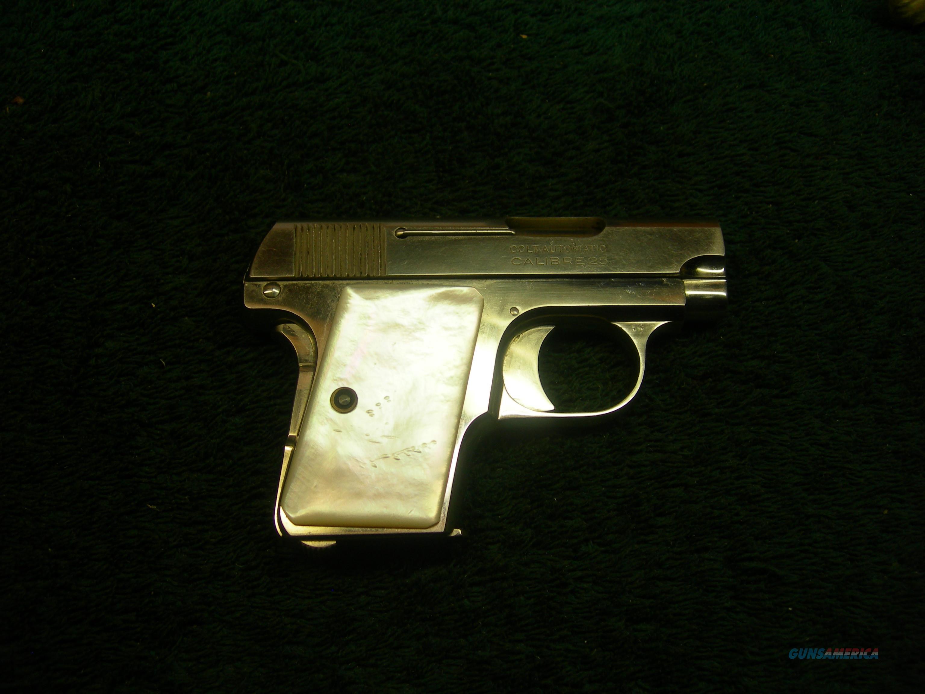 """#1020: Colt 1908 25acp Nickel Mother-of-Pearl ANIB. """"Vest Pocket Model,""""   Guns > Pistols > Colt Automatic Pistols (.25, .32, & .380 cal)"""
