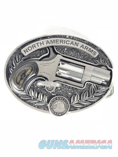 NIB NORTH AMERICAN ARMS 1 1/8? BARREL 22LR & NAA OVAL BELT BUCKLE  Guns > Pistols > North American Arms Pistols
