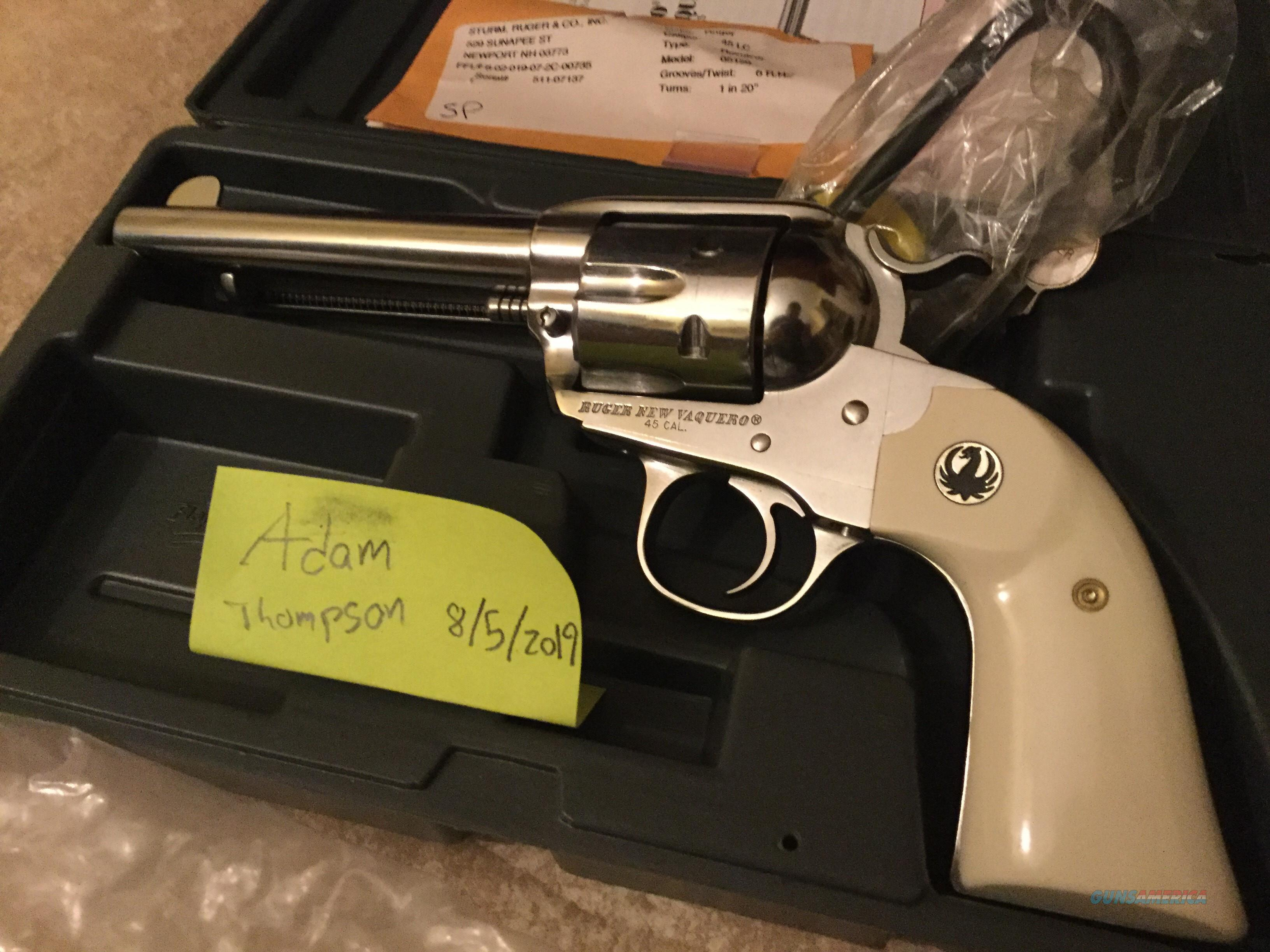 """Ruger New Vaquero Bisley Stainless Steel Ivory 5.5"""" 45 colt  Guns > Pistols > Ruger Single Action Revolvers > Cowboy Action"""