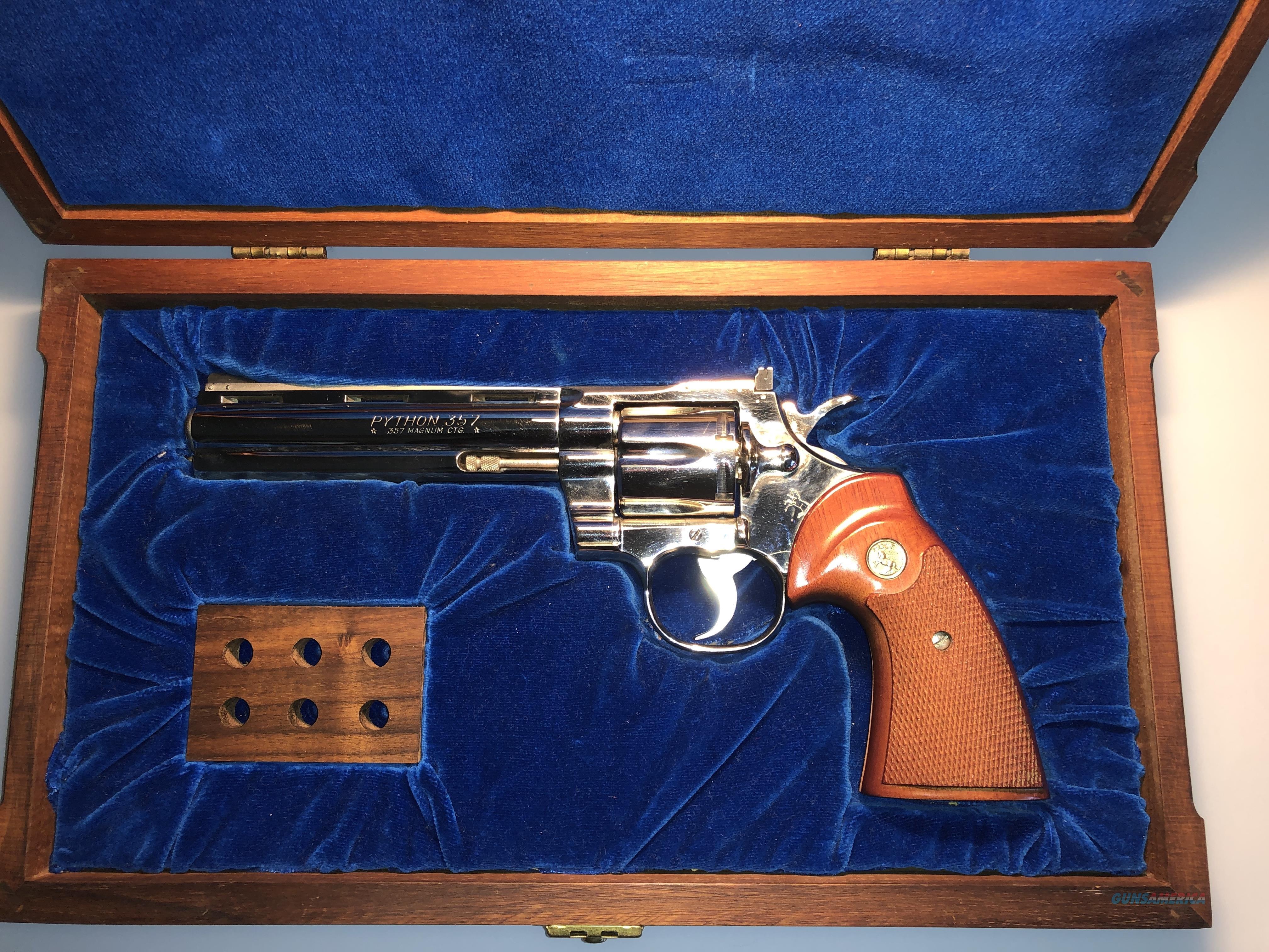 "Colt Python .357 Magnum - 6"" Barrel - Nickel Finish - With Display Case - Like New  Guns > Pistols > Colt Double Action Revolvers- Modern"