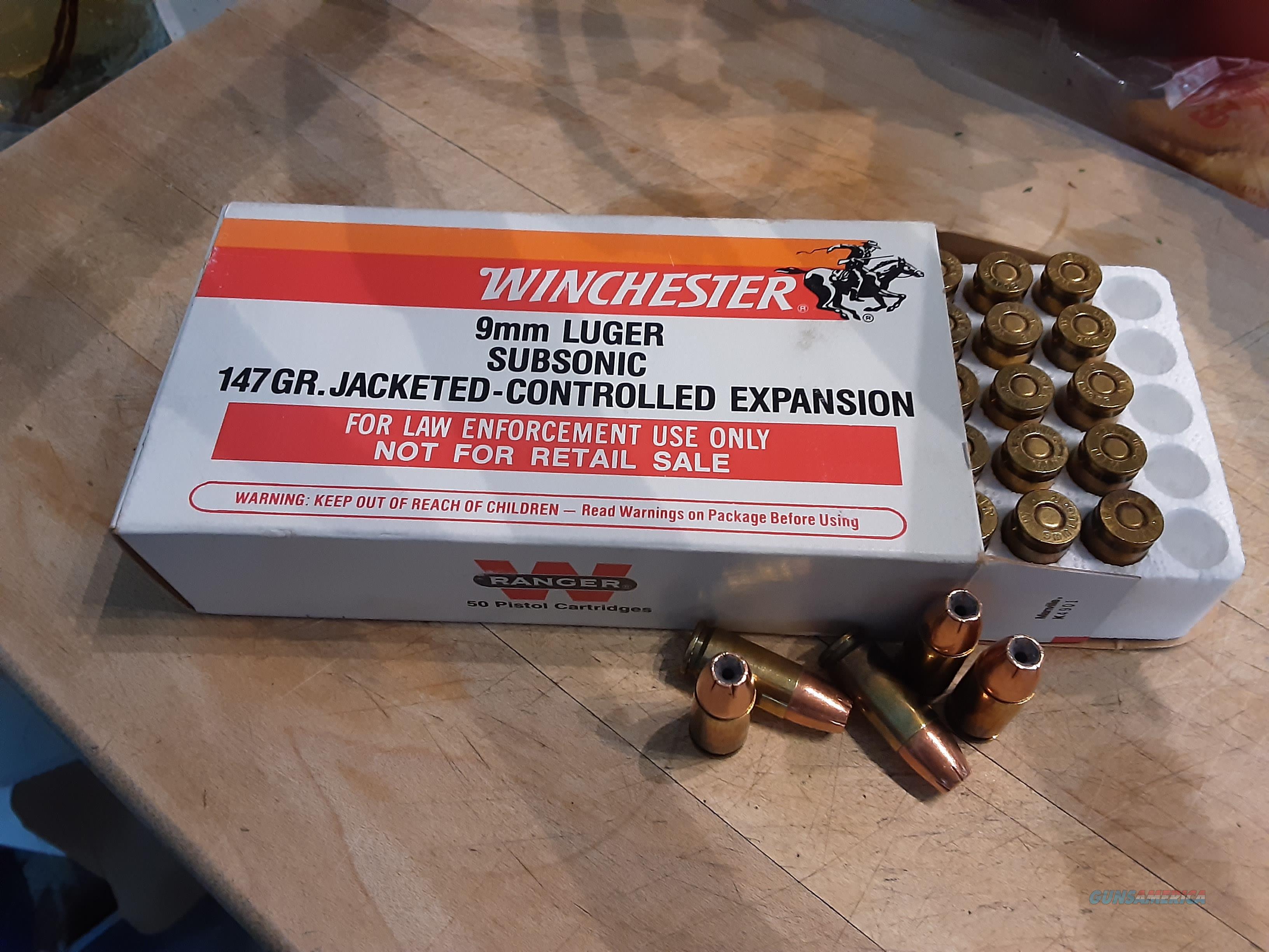 Ammo,Winchester 9mm Subsonic,147gr,JHP  Non-Guns > Ammunition