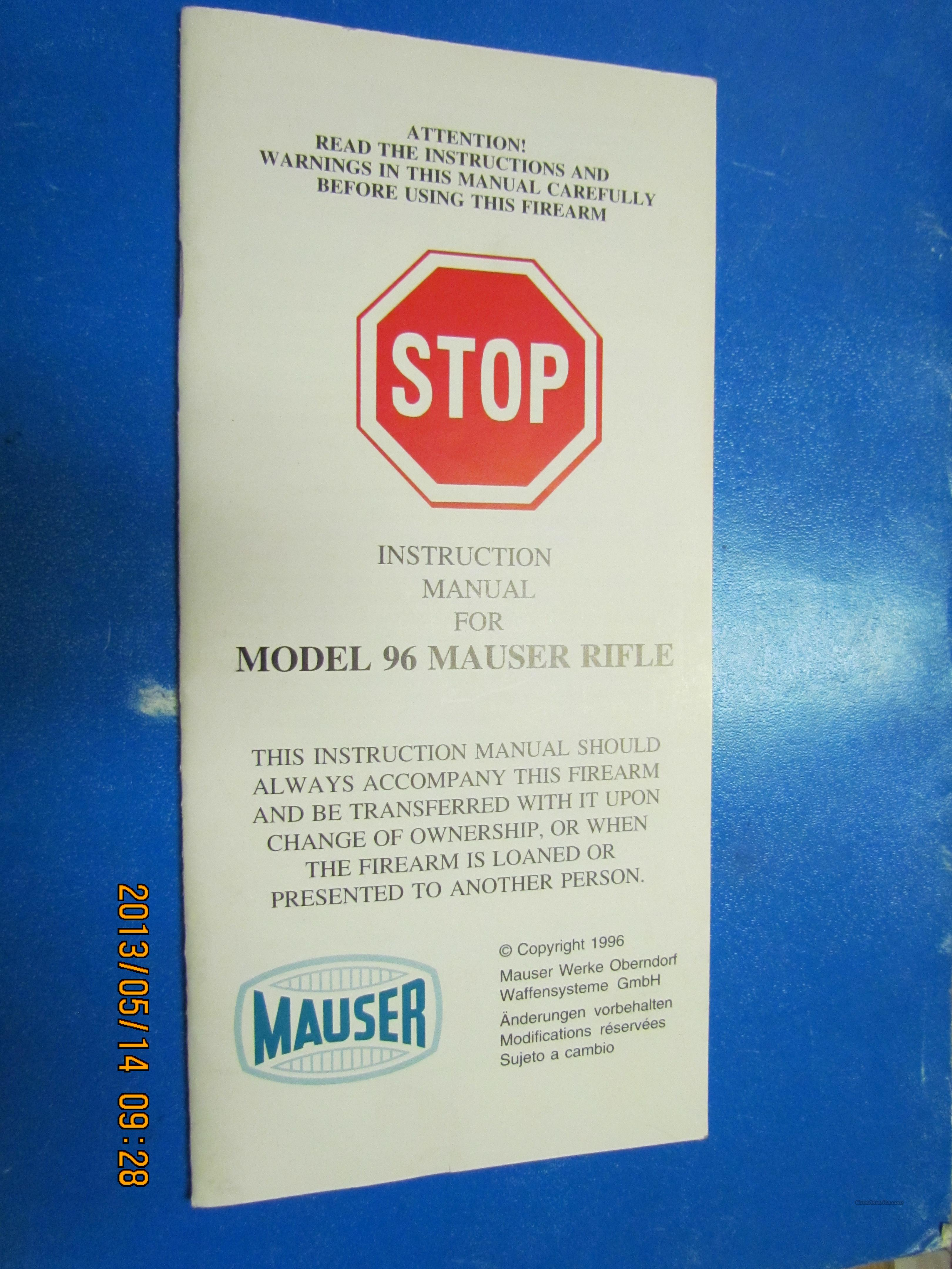 Mauser 96 Straight Pull Bolt Manual & 4pg color Brochure in New Condition  Non-Guns > Manuals - Print