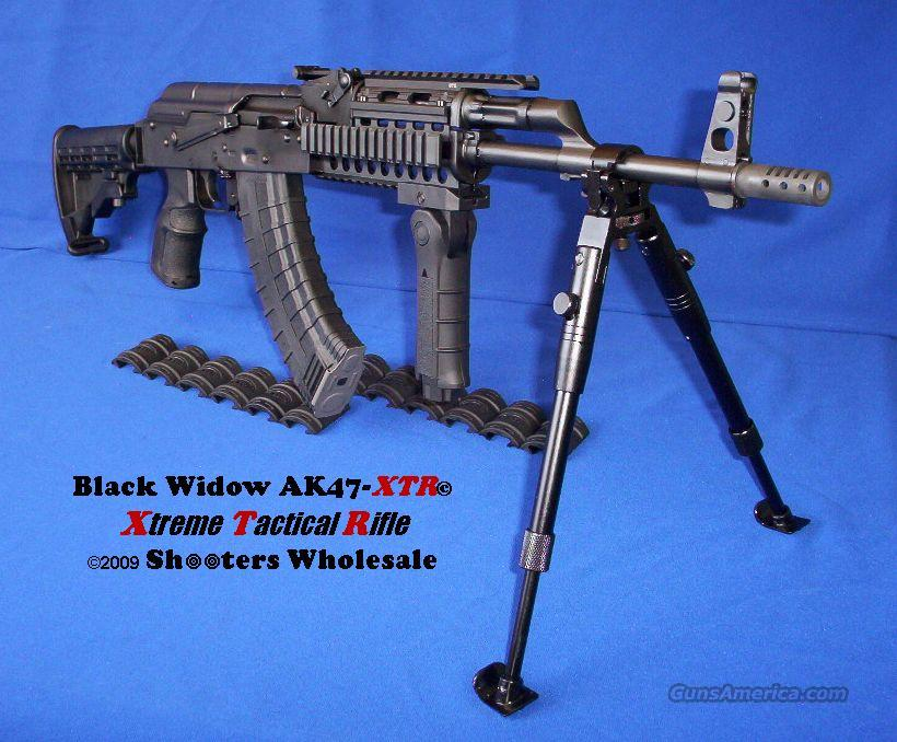 BLACK WIDOW AK47-XTR© XTREME TACTICAL RIFLE! UTG ALUMINUM QUAD-RAIL SYSTEM+SIX POSITION COLLAPSIBLE STOCK+TACTICAL PISTOL GRIP+FOLDING VERTICAL FOREGRIP+MUZZLE BREAK+BUFFER+HOT BLUED SATIN BLACK FINISH+G2 TRIGGER GROUP+MORE!  Guns > Rifles > AK-47 Rifles (and copies) > Full Stock