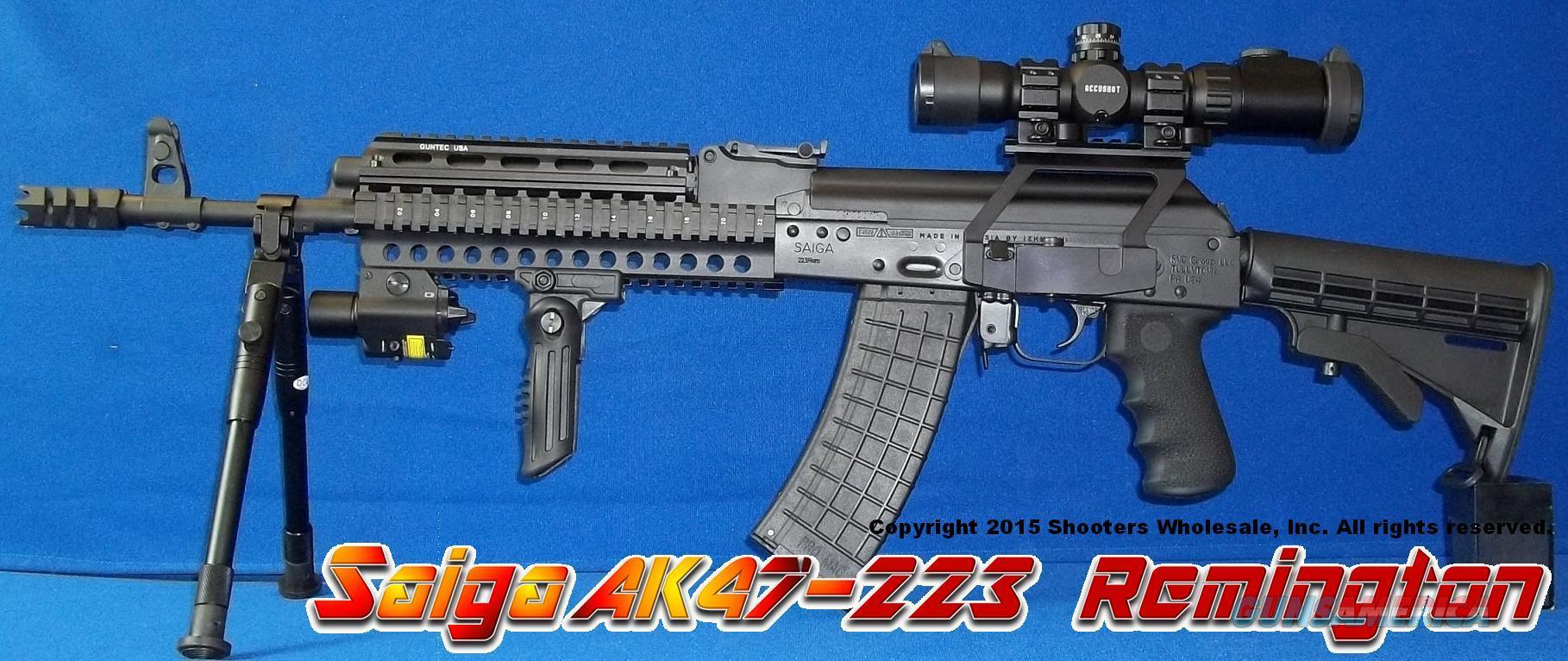 SAIGA RUSSIAN IZHMASH AK47 223 REMINGTON-FULL PROFESSIONAL TACTICAL CONVERSION! GUN-KOTE+ETCHED GLASS SCOPE+QUICK DETACH SIDERAIL MOUNT+250 LUMEN LED/RED LASER COMBO+BIPOD+QUAD RAIL+COLLAPSIBLE STOCK+SPIKE MUZZLE BREAK+TWO 30RD MAGS+MORE!  Guns > Rifles > Saiga Rifles